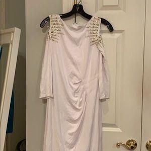 Cache Embellished Cold Shoulder Dress